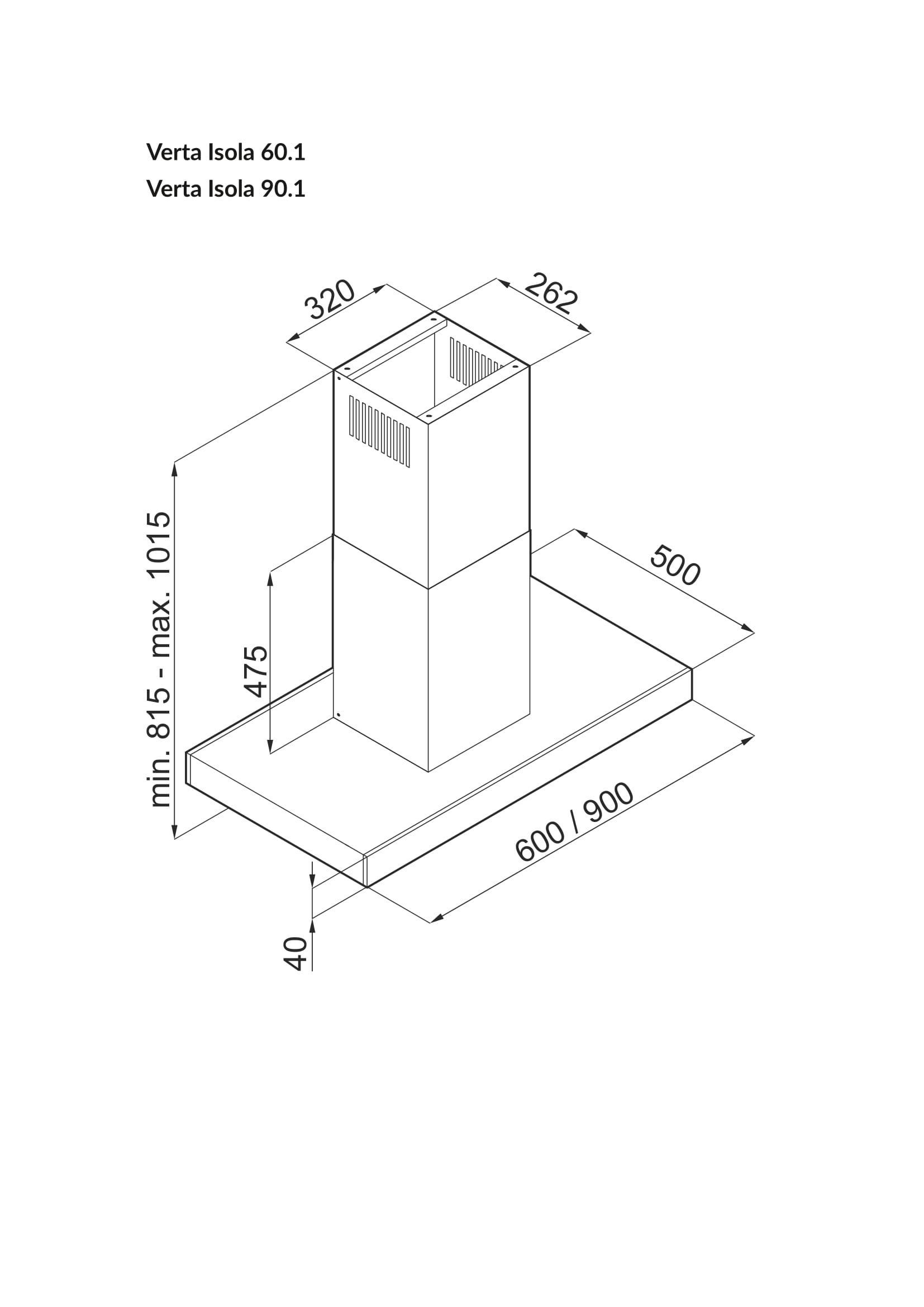 Okap wyspowy GLOBALO Rysunek techniczny Verta Isola 60-90-1